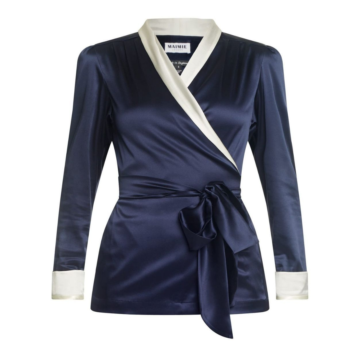 Navy and White Silk Jacket Natural x Lab, Matches Fashion, Liberty of London, Reve en Vert