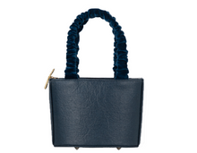 Load image into Gallery viewer,  Sophia Navy Vegan Leather Bag Velvet Strap