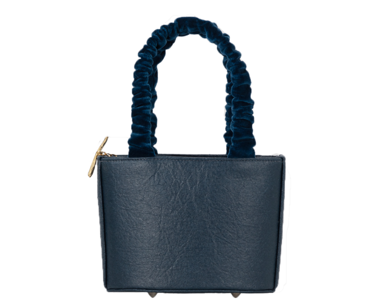 Sophia Navy Vegan Leather Bag Velvet Strap