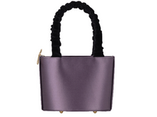 Load image into Gallery viewer, Sophia Mauve Vegan Bag Velvet and Satin Bag Gold Details Mashu Natural x Lab