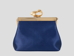 Recycled Vegan Satin Fabric Bag Navy Royal Blue with Gold Brass Frame