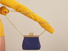 Load image into Gallery viewer, Recycled Vegan Satin Fabric Bag Navy Royal Blue with Gold Brass Frame