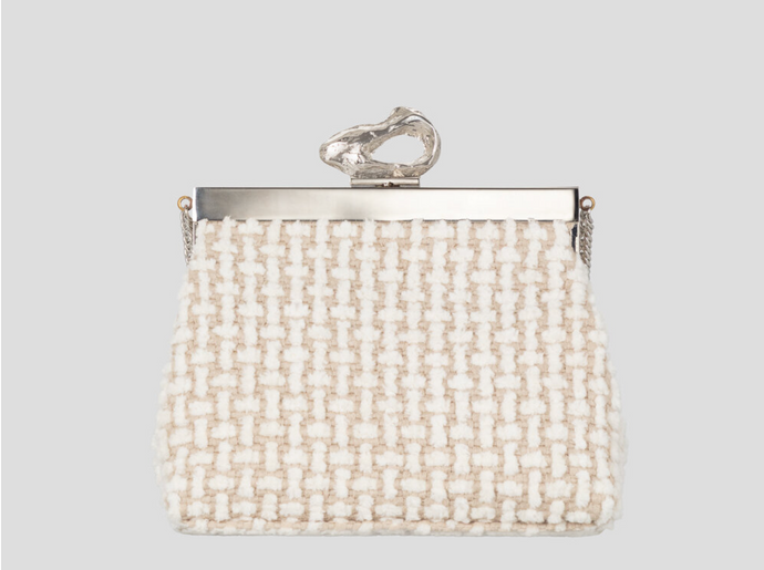 Recycled Vegan Fluffy White Fabric Bag with Silver Brass Frame