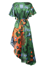Load image into Gallery viewer, Green and Orange Silk Print Dress by Gung Ho