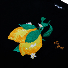Load image into Gallery viewer, Orgainc Cotton Black Crop Wonky Lemon Sweatshirt by Gung Ho London at Natural x Lab