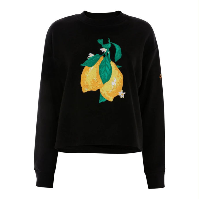 Orgainc Cotton Black Crop Wonky Lemon Sweatshirt by Gung Ho London at Natural x Lab