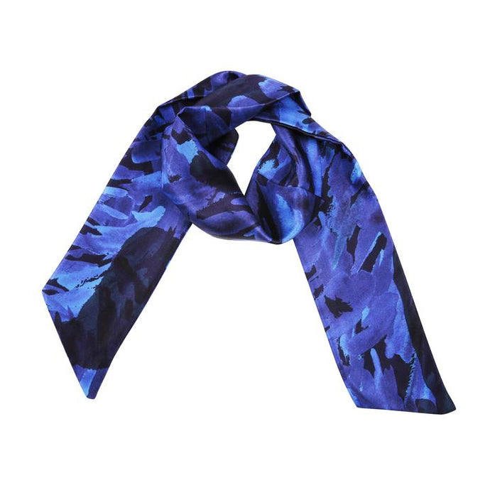 100% Silk Water Neck Scarf in Blue by Gung Ho London at Natural x Lab