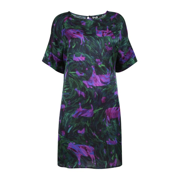 Green and Purple 100% Silk Water Shift Dress by Gung Ho at Natural x Lab