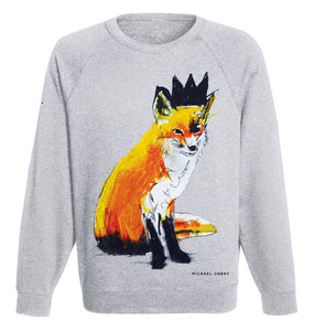 Organic Cotton, Vegan Ink Fox Jumper in Grey, by Michael Gurhy, at Natural x Lab