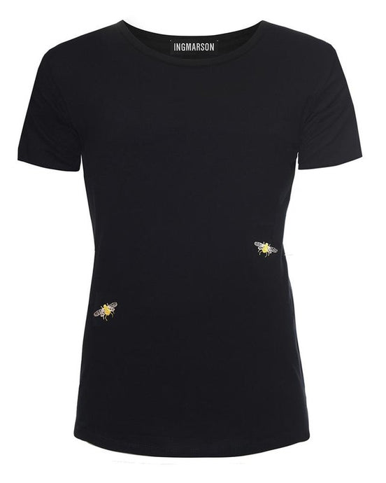 short sleeved Embroidered White Bee T-shirt, by Ingmarson at Natural x Lab
