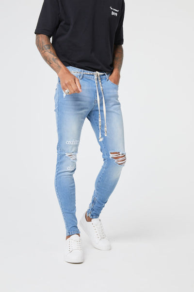 Embroidered  Distressed Denim Jean