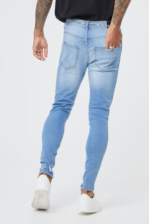 Embroidered  Distressed Denim Jean - ZANMODA