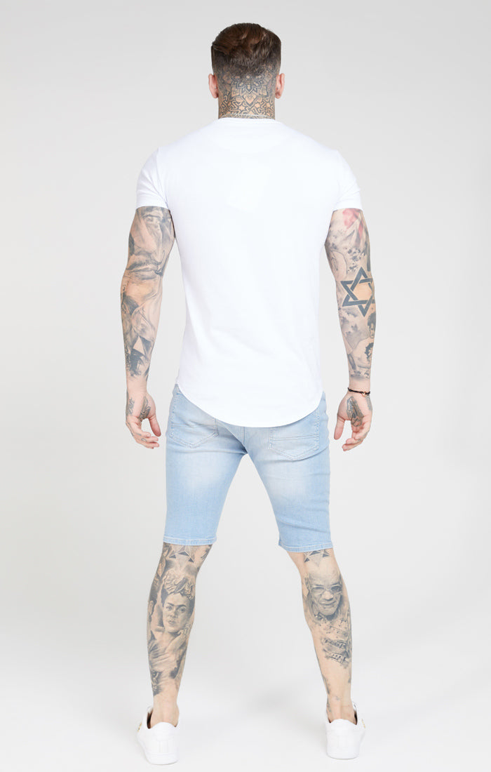 SikSilk Distressed Skinny Shorts – Light Wash - ZANMODA
