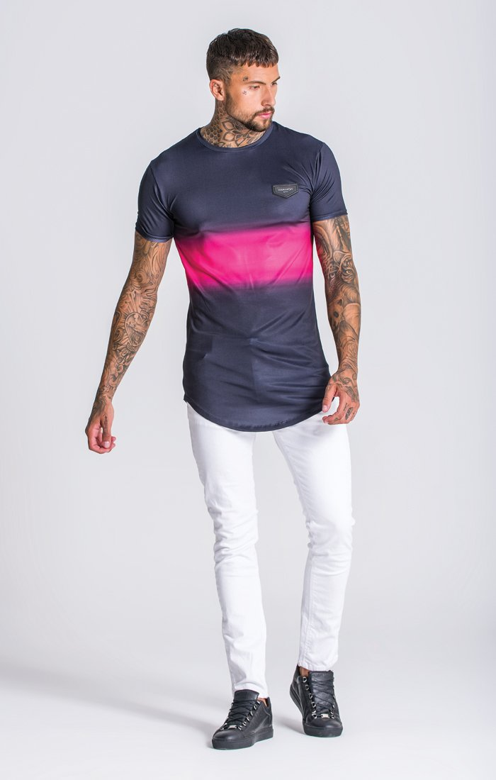 Black/Pink Techno Faded Tee - ZANMODA