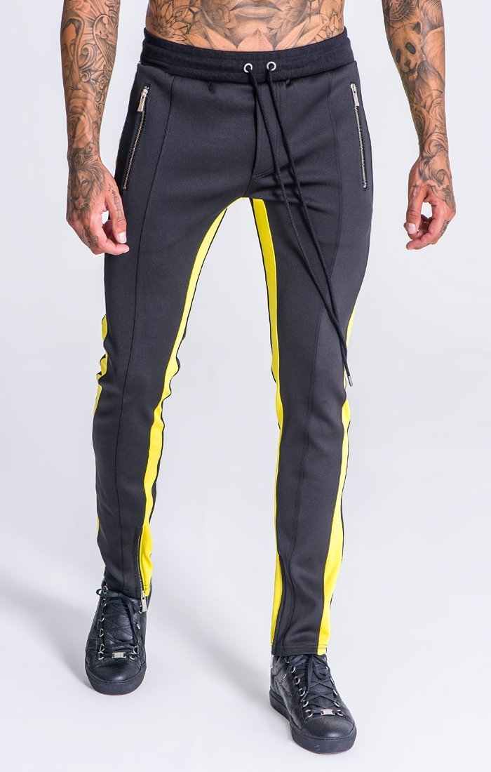 Black Trousers With Yellow Stripes