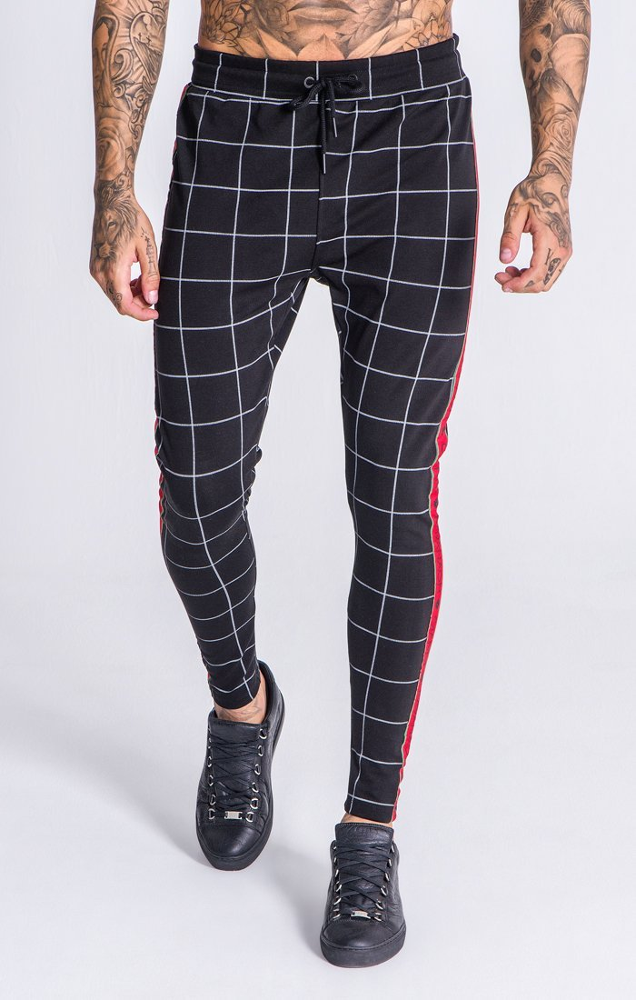 Dark Grey Checkered Pants With GK Red and Green Ribbon - ZANMODA