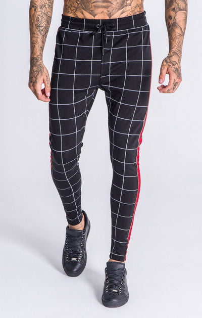 Dark Grey Checkered Pants With GK Red and Green Ribbon