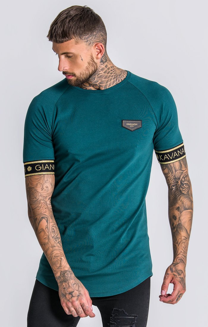 Green Raglan Tee With GK Gold Lurex Elastic