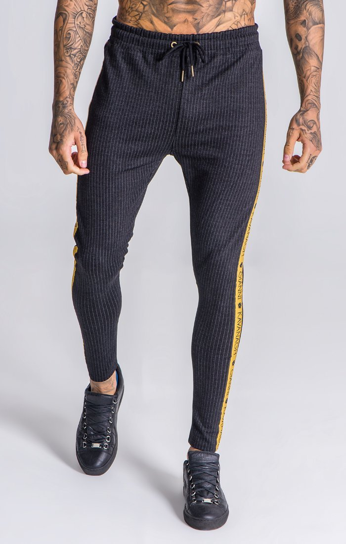Black Striped Pants with Gk Black /Gold Ribbon