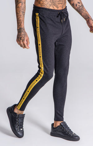Black Striped Pants with Gk Black /Gold Ribbon - ZANMODA