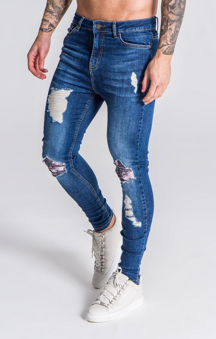 Blue Distressed Jeans With Nostalgic Roses Print