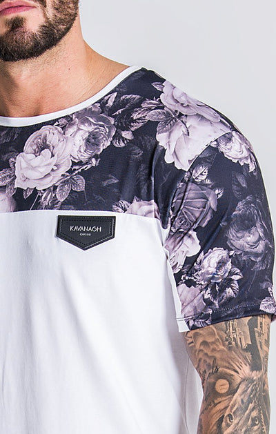 White Tee With Nostalgic Roses Print Panels