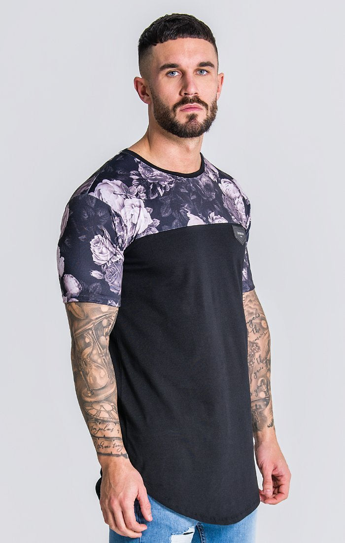 Black Tee With Nostalgic Roses Print Panels - ZANMODA