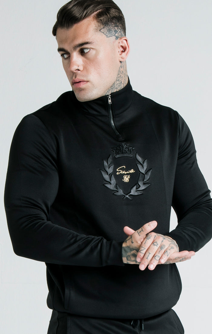 SikSilk x Dani Alves Quarter Zip Prestige Embossed Overhead Track Top – Black - ZANMODA