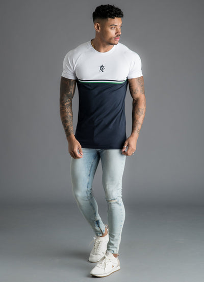 GK Gilchrist T-Shirt -White/Navy/Green
