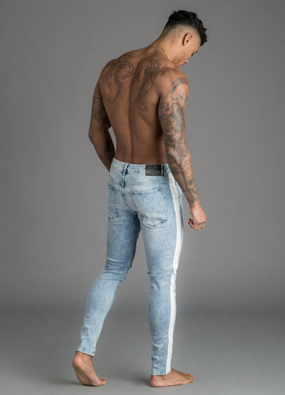 GK Alamo Distressed Denim Jeans With Stripe - Light Acid Wash