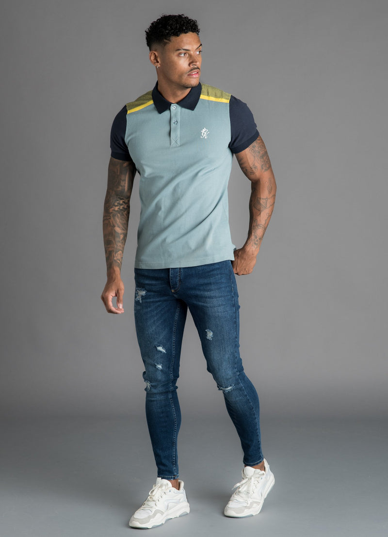 GK Rossi Shortsleeve Pique Polo - Grey/Blue