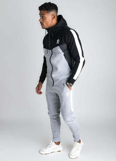 GK Koen Tracksuit Top - Grey Marl  /Black