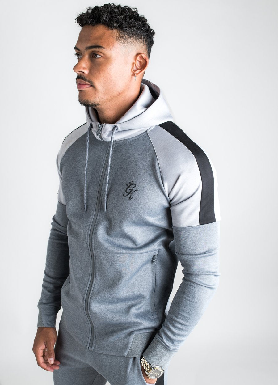 GK Core Plus Contrast Poly Tracksuit  Top  - Charcoal Marl /Grey Marl