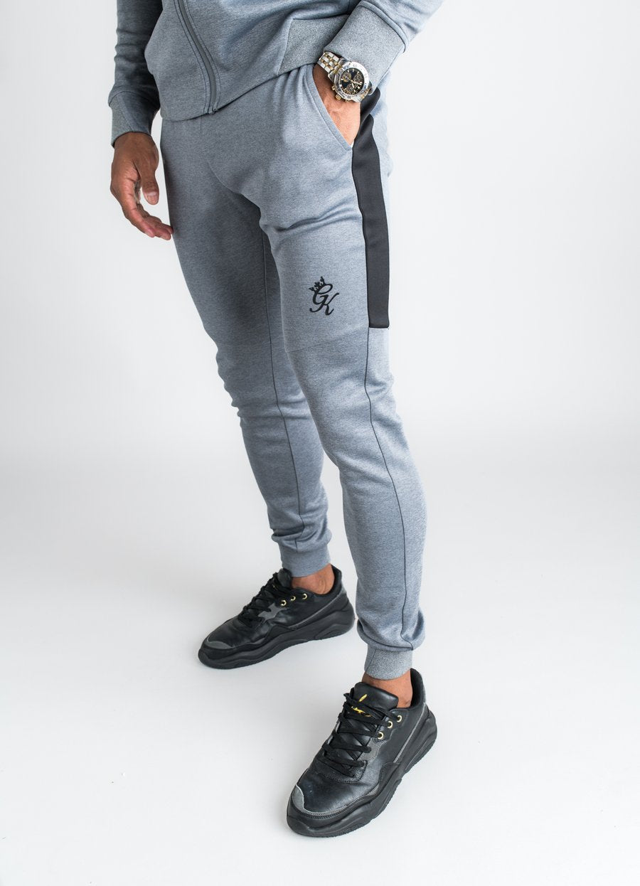 GK Core Plus Contrast Poly Tracksuit  Bottom  - Charcoal Marl /Grey Marl - ZANMODA