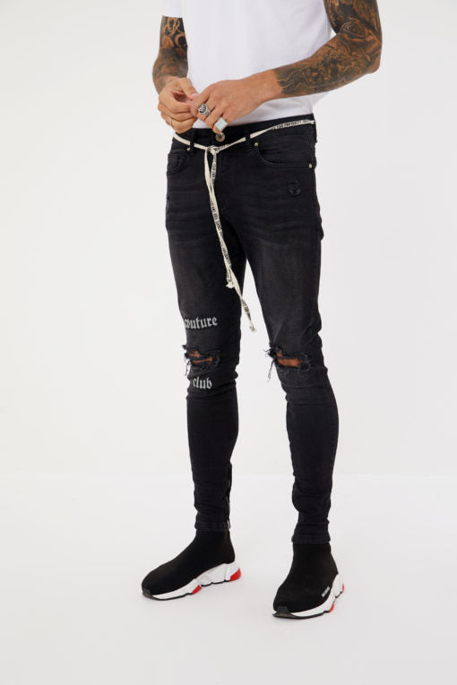 Embroidered Distressed Denim Jeans