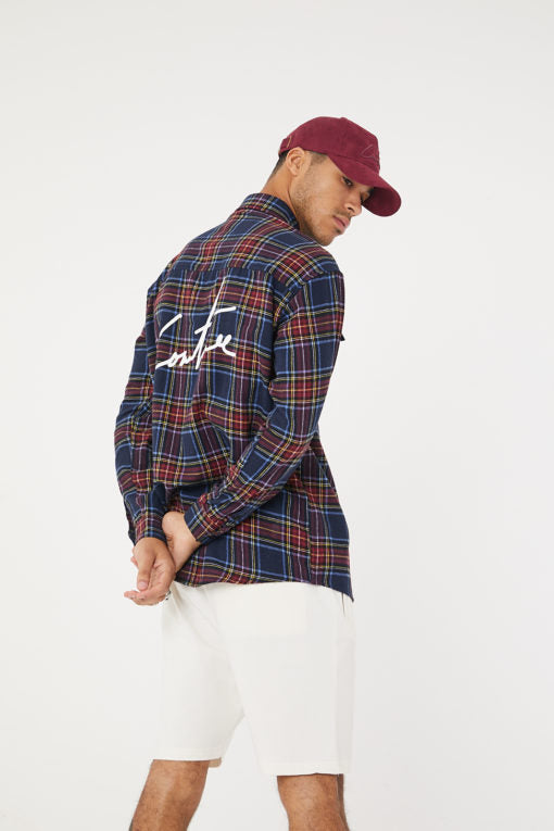 Check Shirt Navy/Burgundy