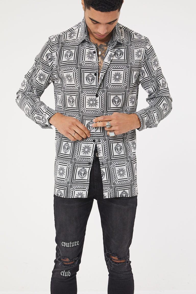 Tile Print LS Print Resort Shirt