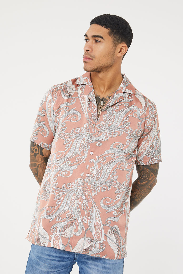 Oversized Paisley  Print SS Resort  Shirt -Pink