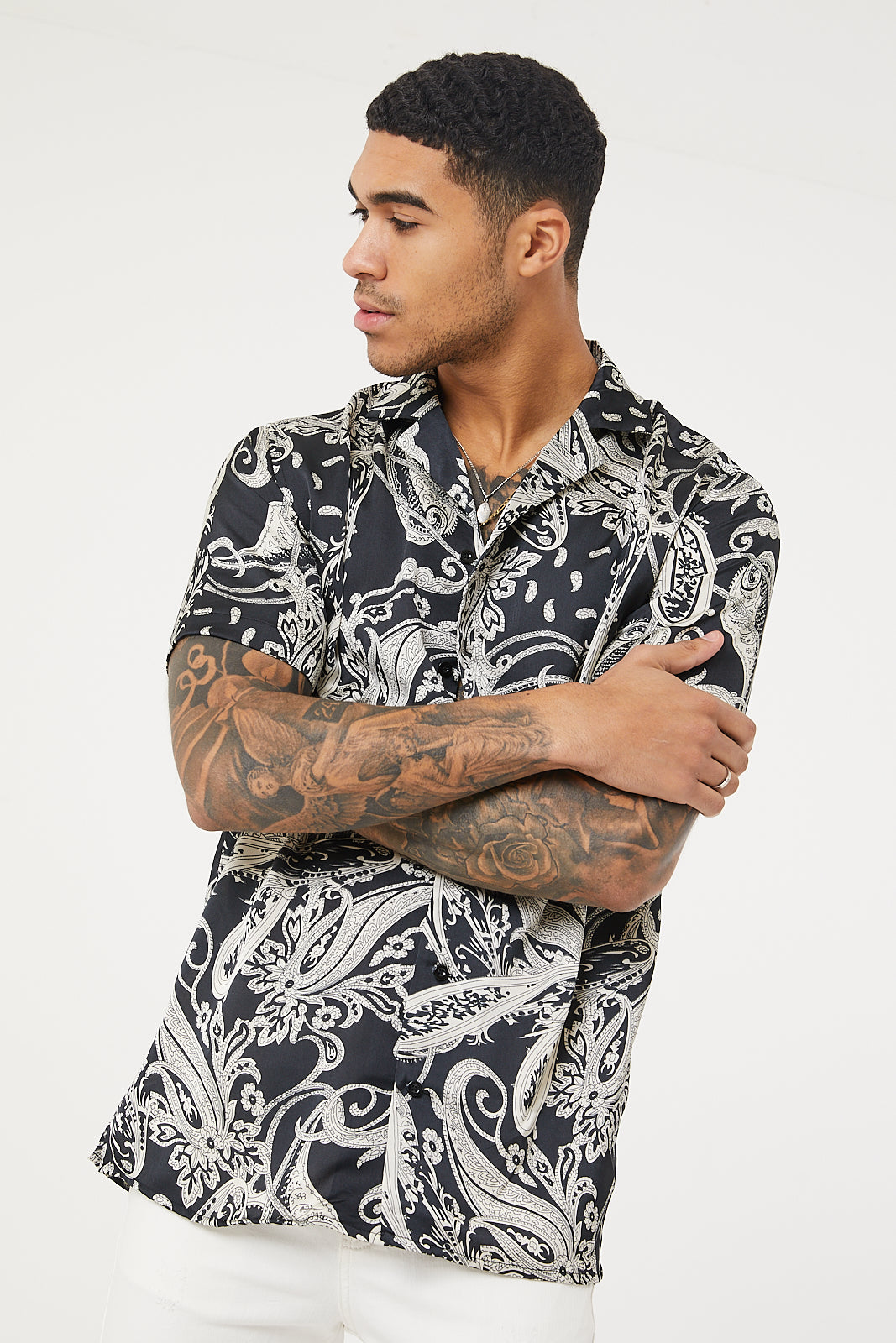 Oversized Paisley  Print SS Resort  Shirt -Black