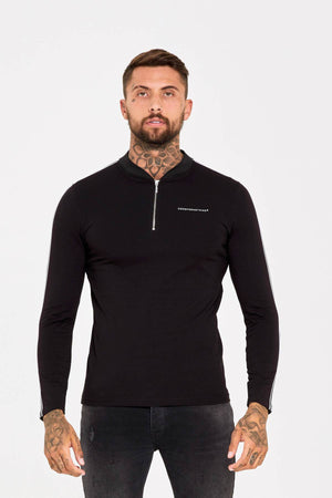 Zip Long Sleeve Black Polo - ZANMODA