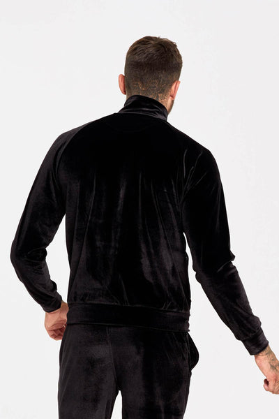 Velour track top with raised rubber branding in black