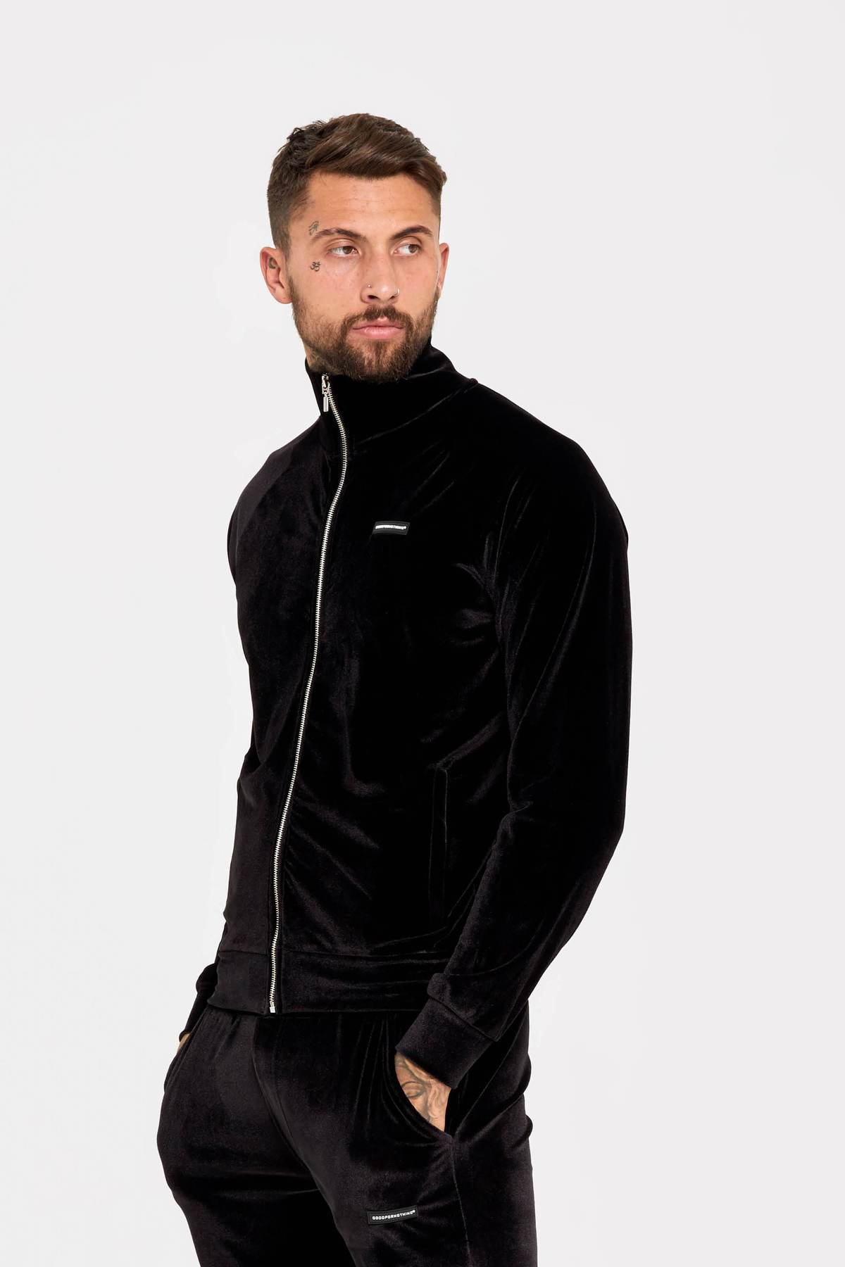 Velour track top with raised rubber branding in black - ZANMODA