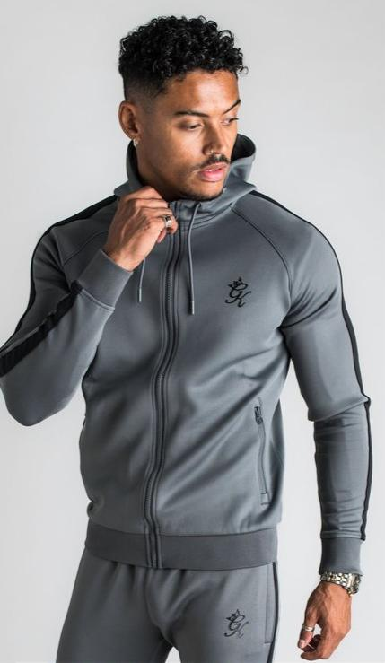 GK Basis Poly Tracksuit Top - Dark Grey /Black - ZANMODA