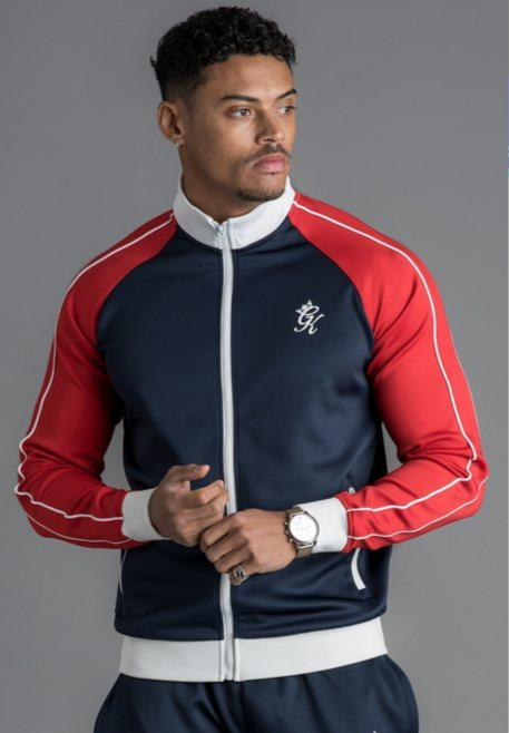 GK Tri Colour Poly Funnel Neck Tracksuit Top - Navy Nights/Red