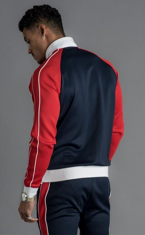 GK Tri Colour Poly Funnel Neck Tracksuit Top - Navy Nights/Red - ZANMODA