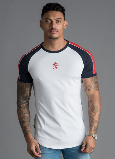GK Contrast Piped T-Shirt - White/Navy/Red