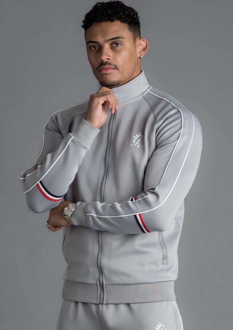 GK Diego Retro Taped Poly Funnel Neck Tracksuit Top-Silver Grey