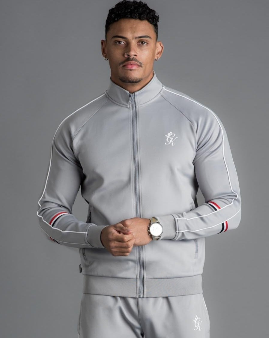 GK Diego Retro Taped Poly Funnel Neck Tracksuit Top-Silver Grey - ZANMODA