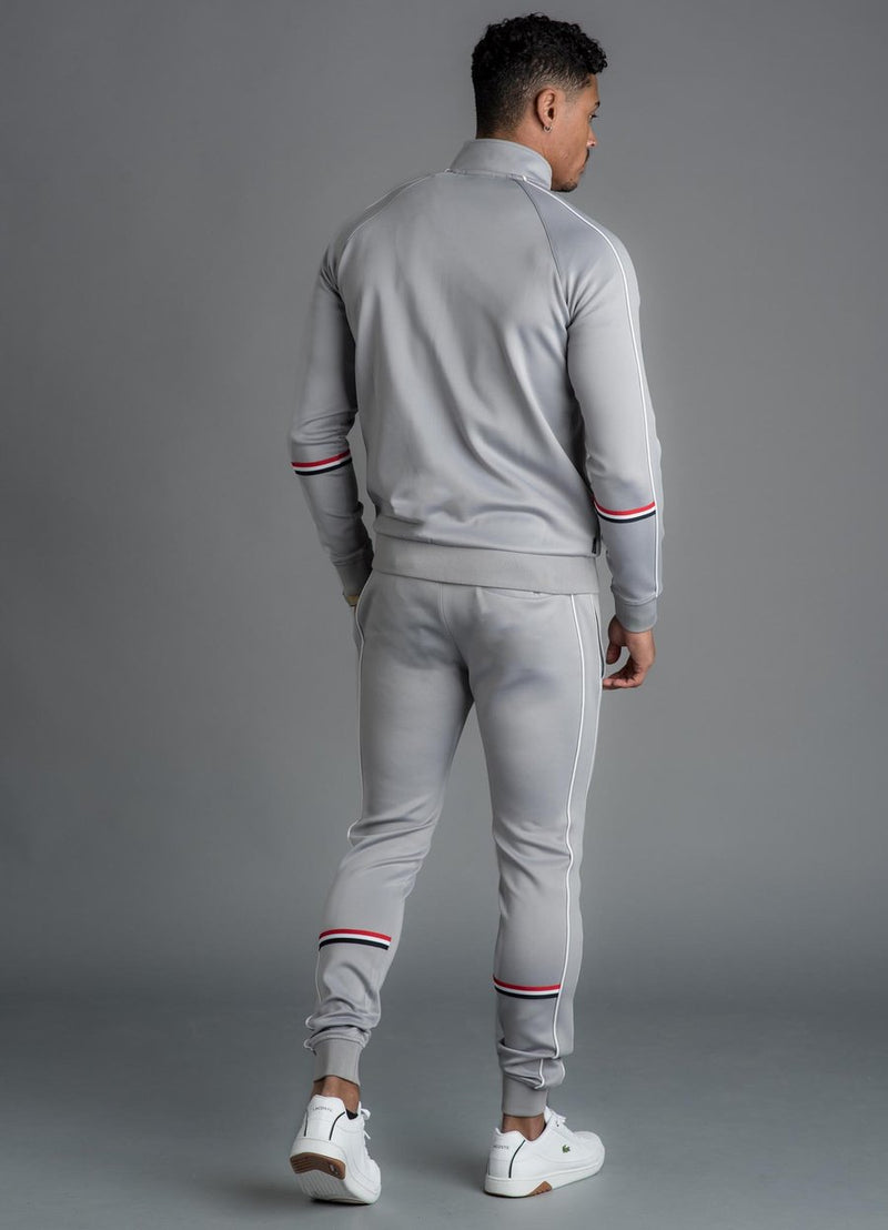 GK Diego Retro Taped Poly Tracksuit Bottom - Silver Grey