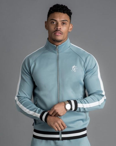 GK Exclusive Retro Tipped Poly Funnel Neck Tracksuit Top - Citadel